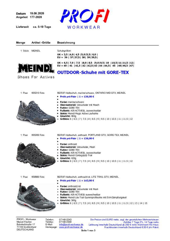 thumbnail of Outdoorschuhe mit GORE TEX = MEINDL = 08-2020